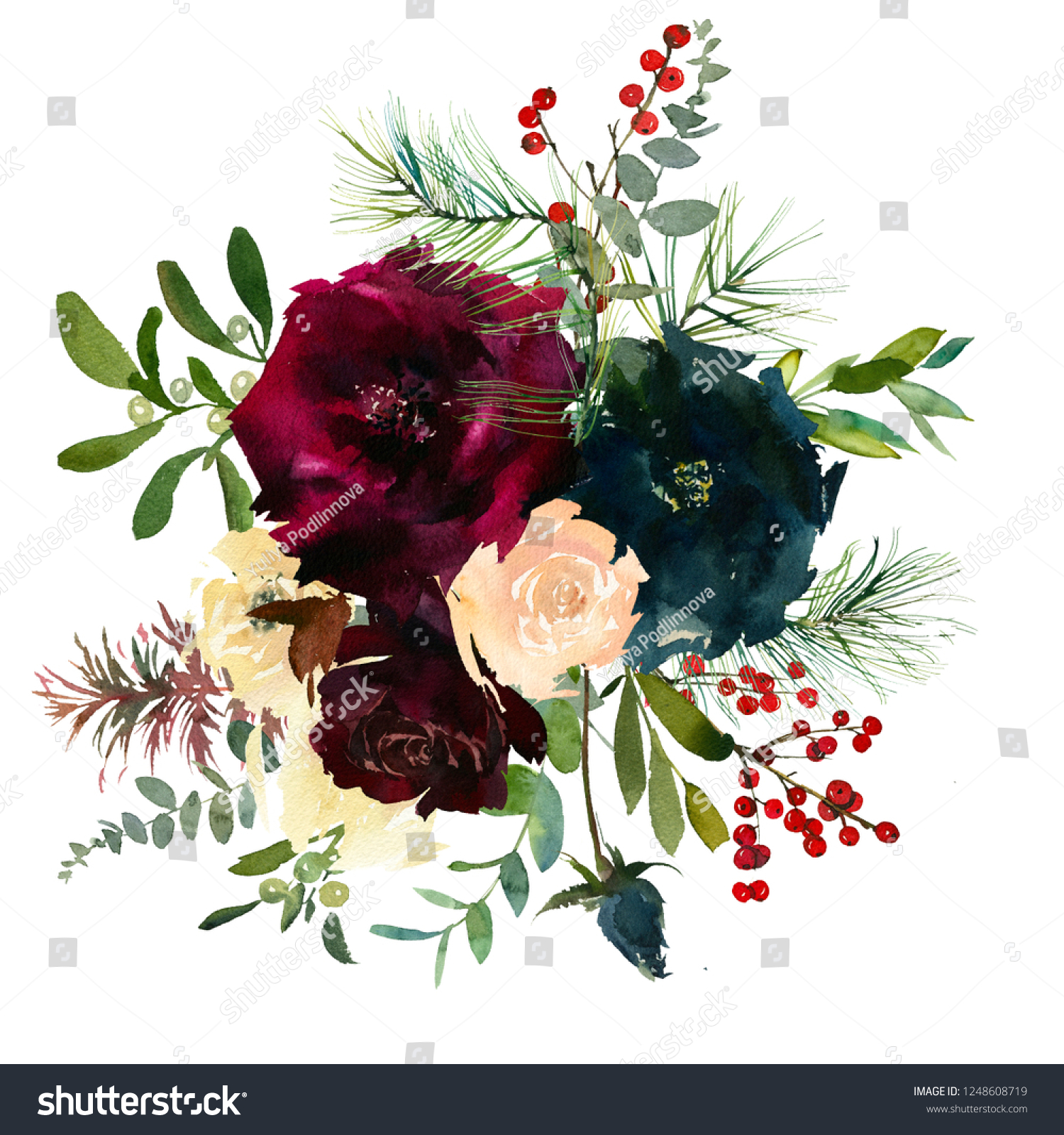 Burgundy White Navy Blue Watercolor Floral Stock Illustration 1248608719