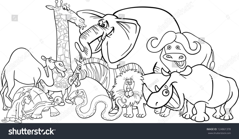 Black White Cartoon Illustration Funny African Stock ...