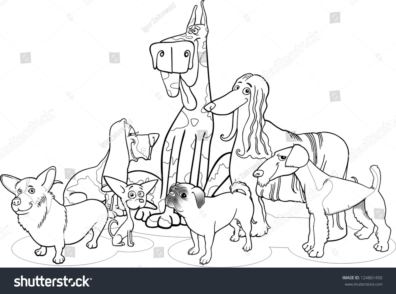 black white cartoon illustration cute purebred stock vector