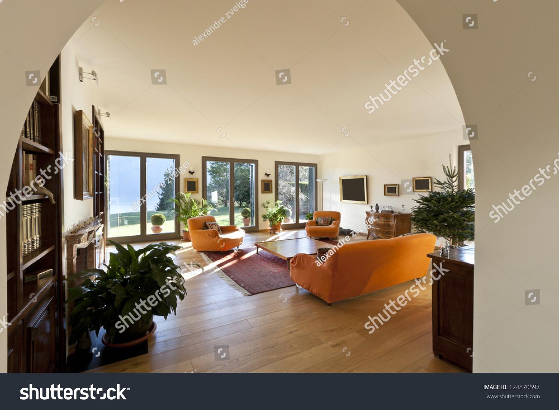 Beautiful apartment interior living room stock photo for Beautiful flats interior