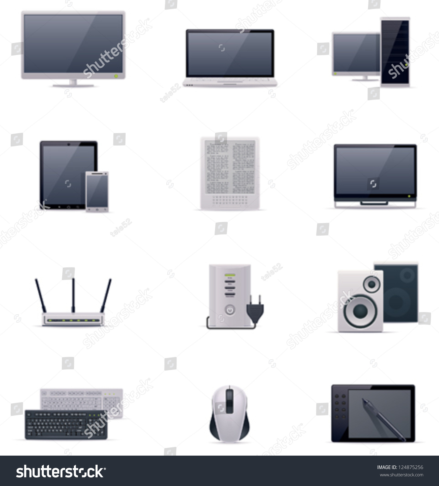 Vector computer icon set includes monitor stock photo photo vector vector computer icon set includes monitor laptop desktop pc tablet smartphone keyboard keysfo Image collections