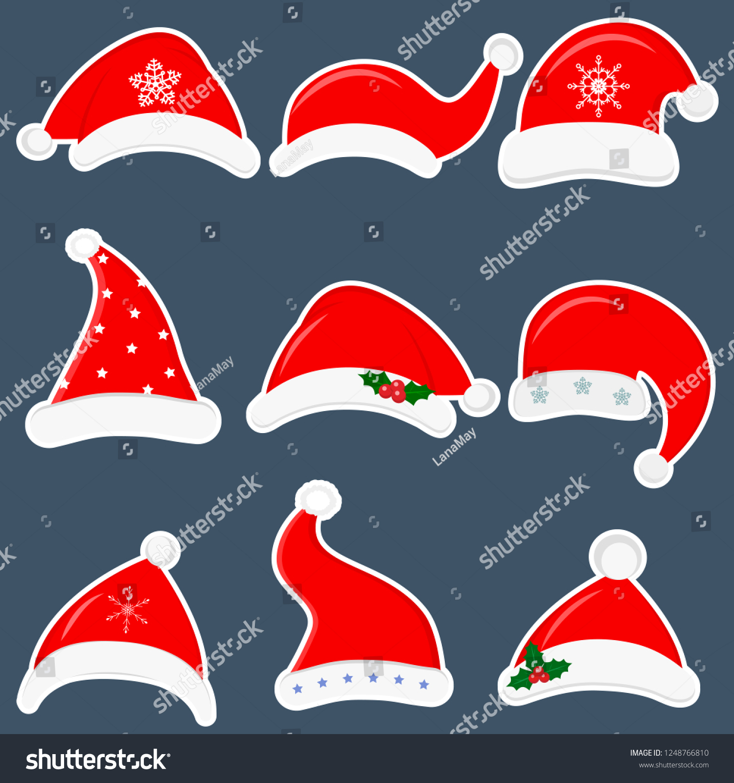 happy new year and merry christmas set of nine different santa hats stickers with various