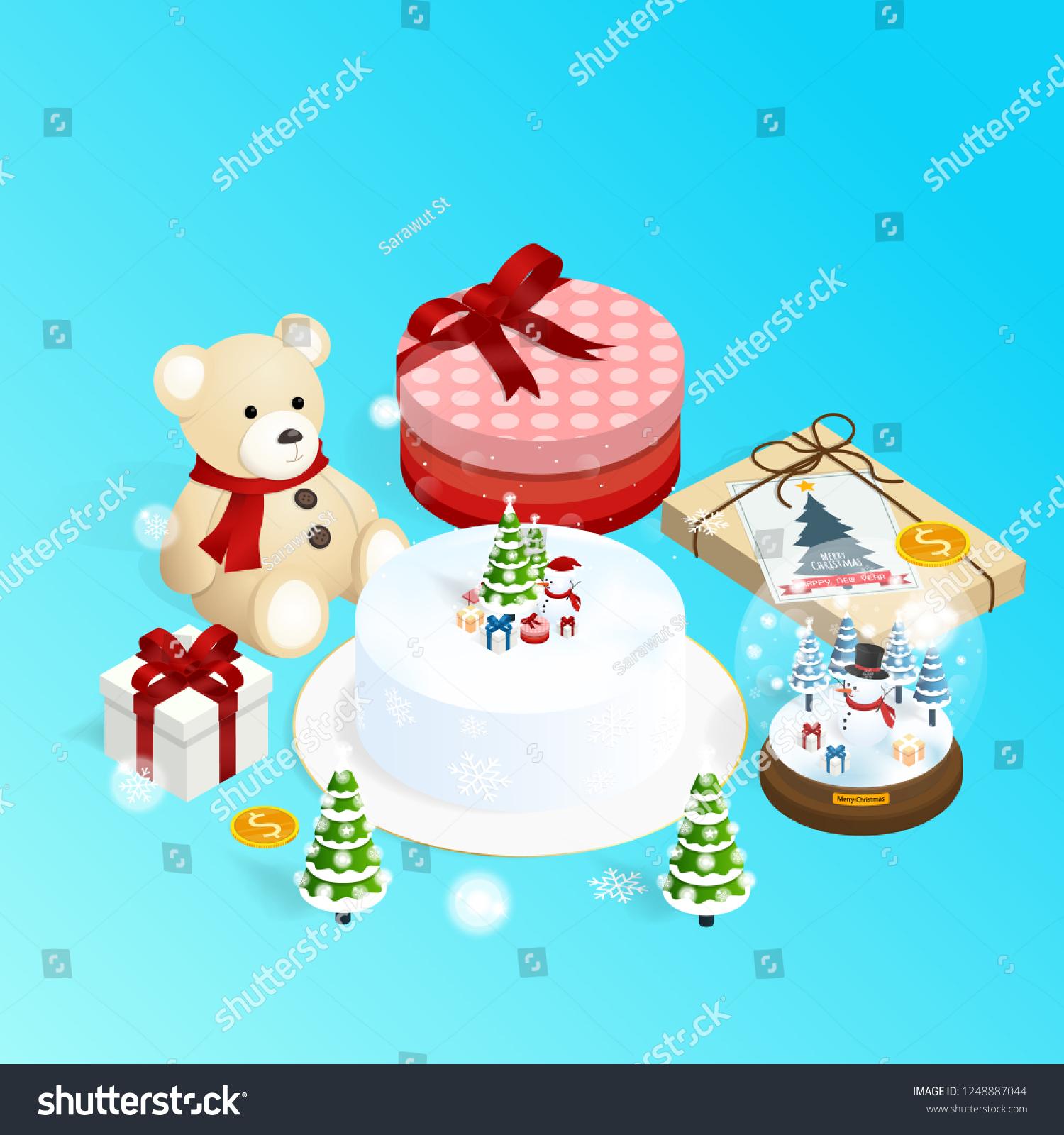 Merry Christmas Happy New Yearisometric Cake Stock Vector Royalty