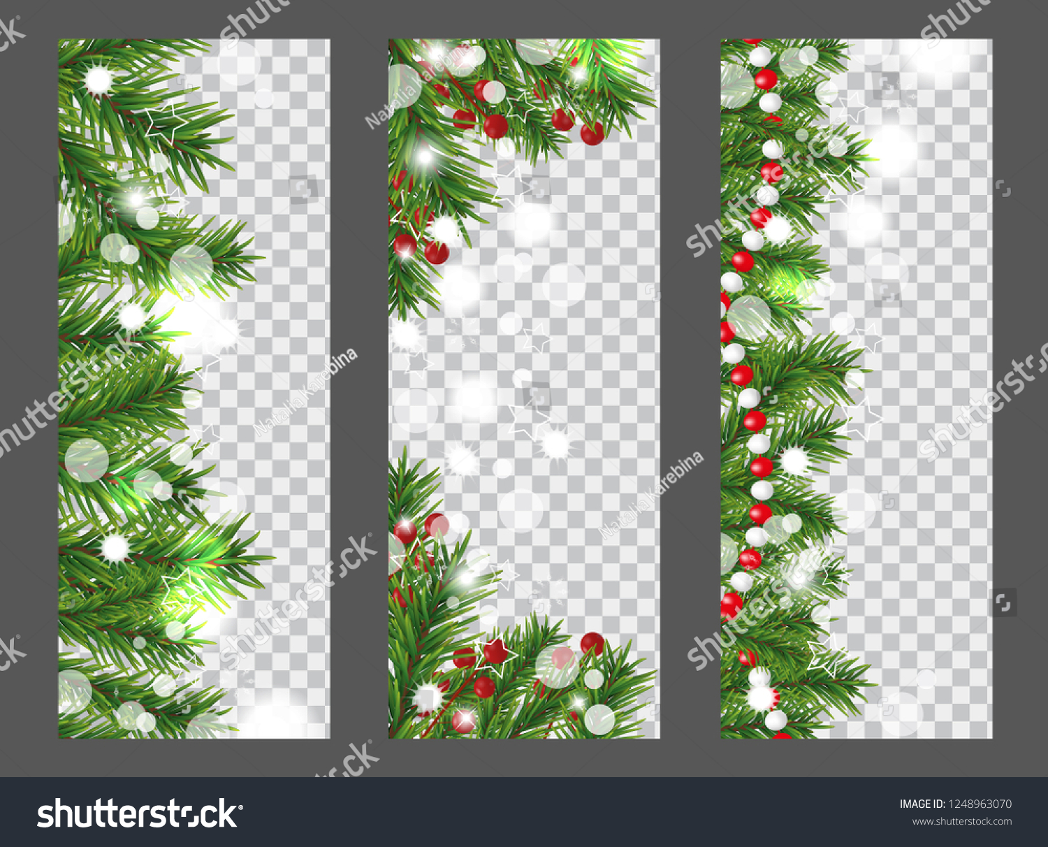 collection christmas and new year vertical banner with border or garland of christmas tree branches