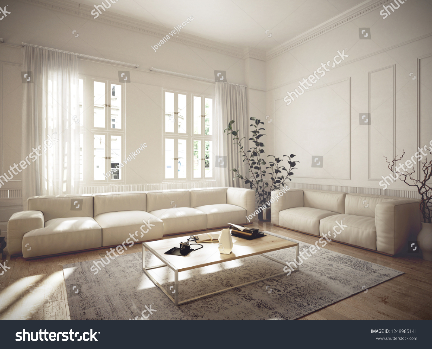 Vintage style penthouse living room interior - 3 d render