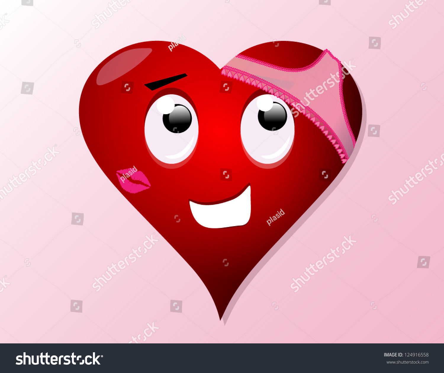 a cartoon vector of a red valentines day heart with womens pink underwear