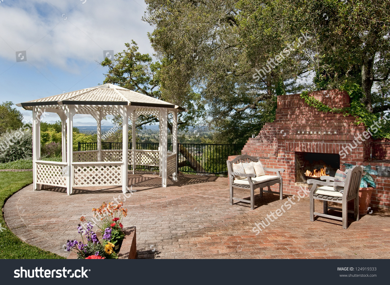 Nice Backyard Patio With Gazebo And Big Brick Fireplace