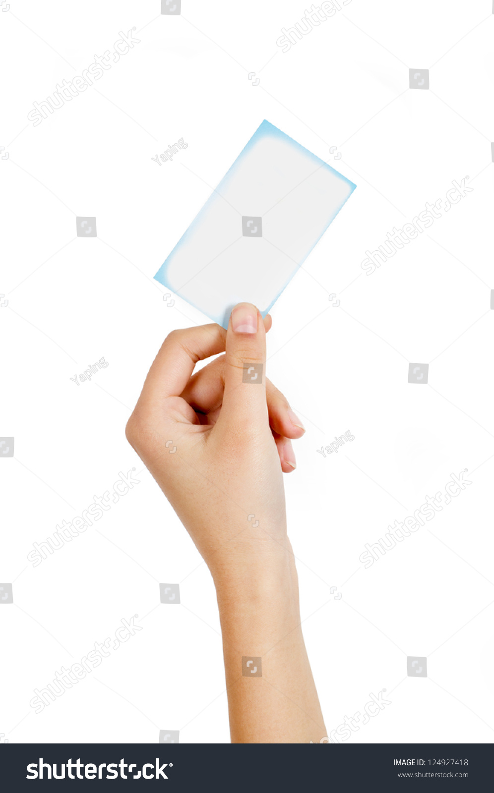 Blank business card in hand choice image card design and card woman handed blank business card hand stock photo 124927418 woman handed blank business card in hand magicingreecefo Choice Image