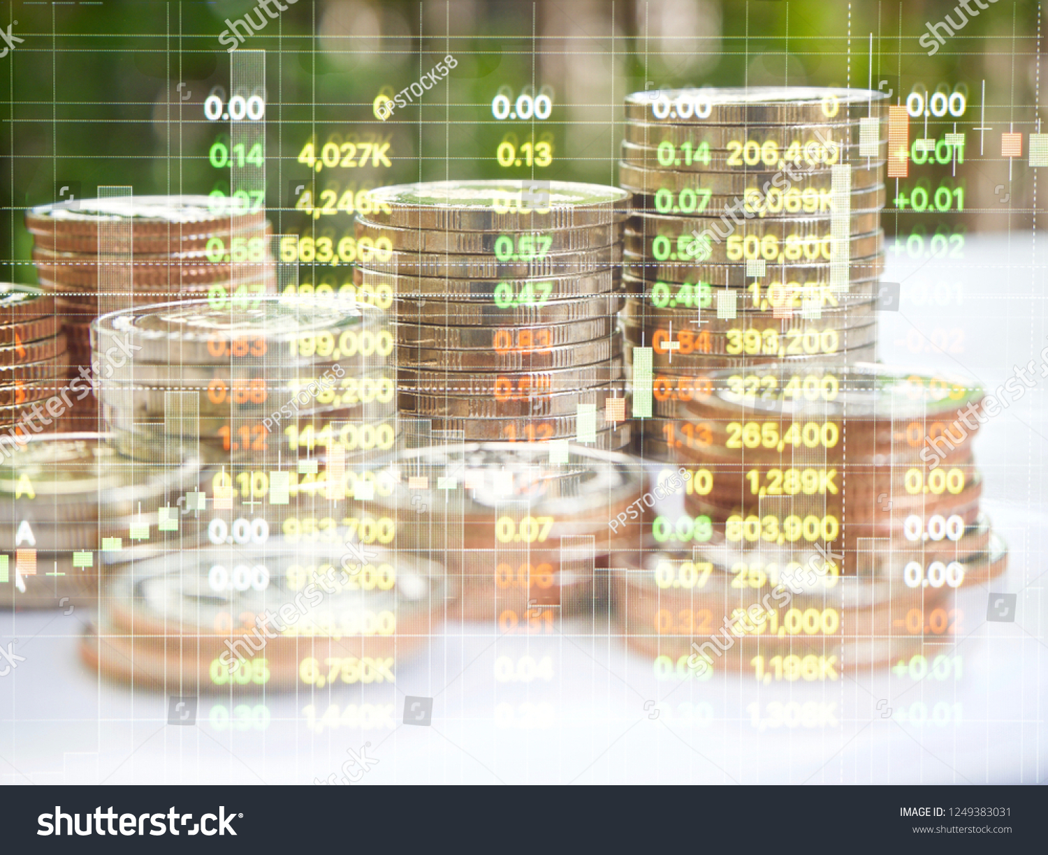 Coins Money Stack On White Tabletop Stock Photo (Edit Now