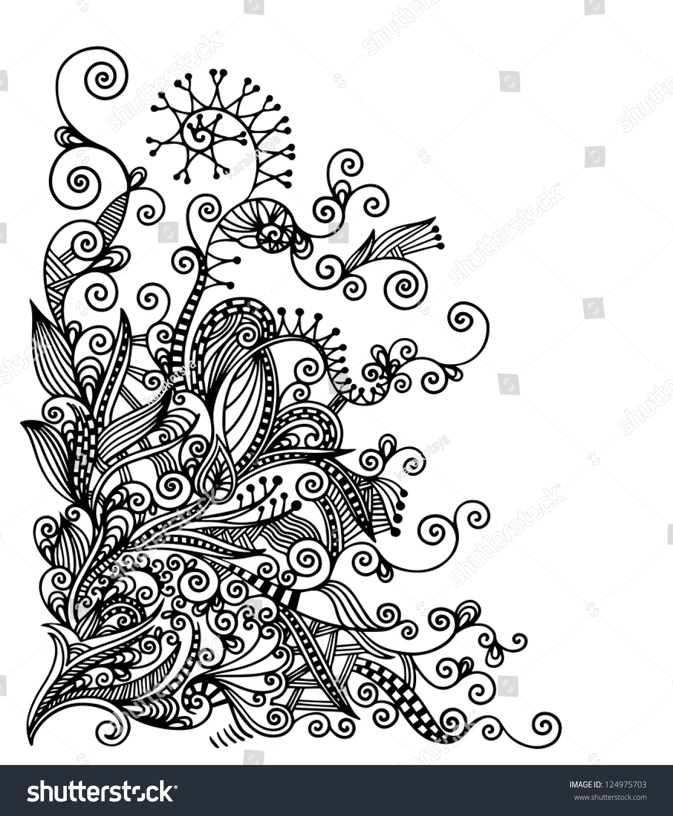 Vector Drawing Lines Html : Original hand draw line art ornate flower design