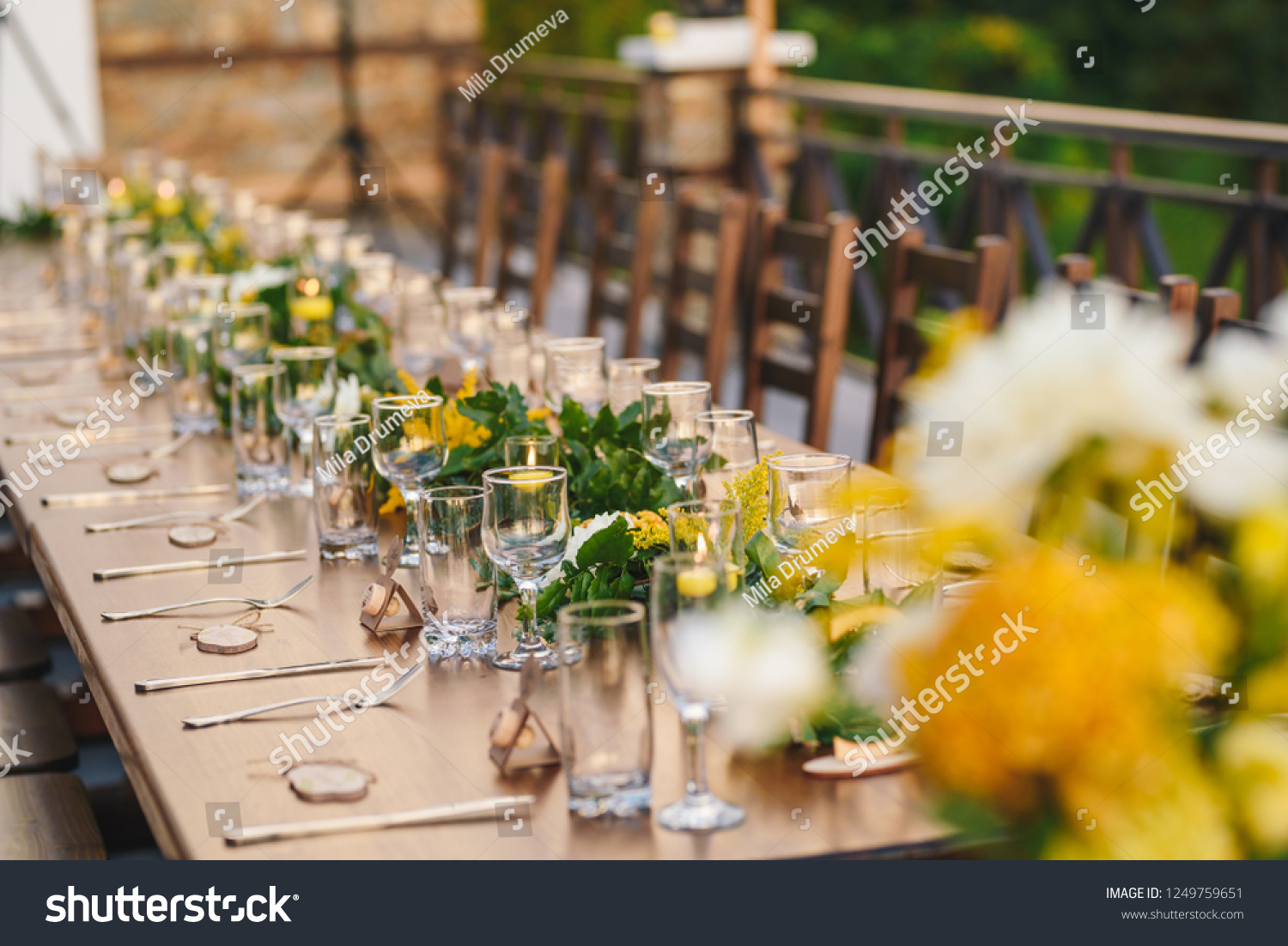 Table Set Special Eventwedding Yellow Green Stock Photo Edit Now