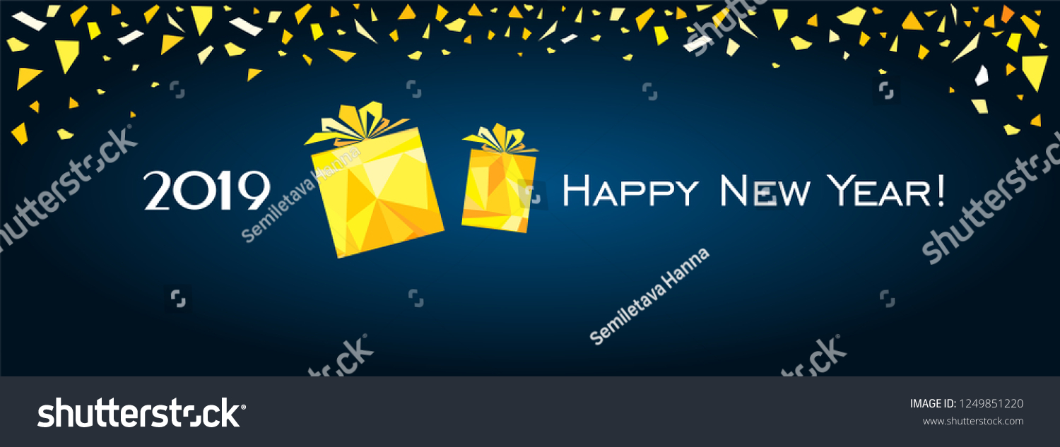 happy new year 2019 greeting card celebration dark blue background with gold gift box
