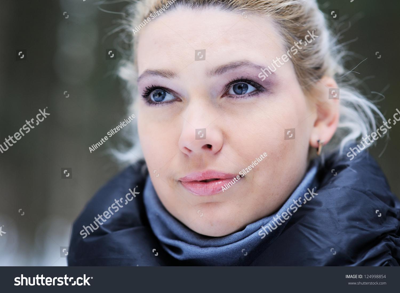 Latvian Woman Winter Coat Portrait 11