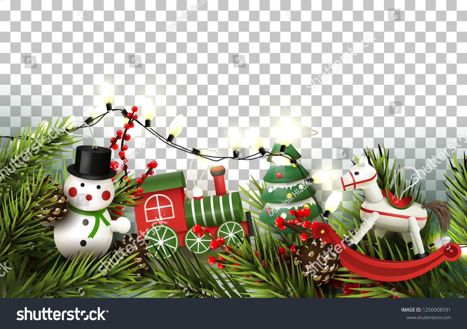 Christmas Border Branches Wooden Toys Decorations Stock Vector