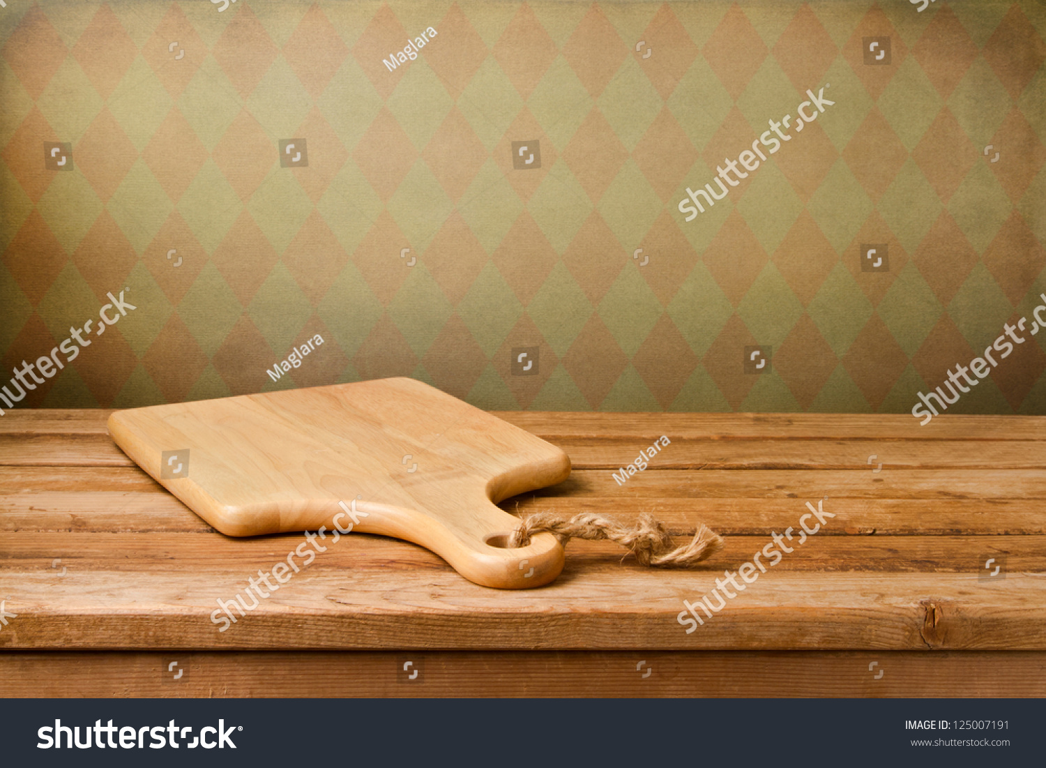 Wood table background hd - Background With Cutting Board On Wooden Table Over Vintage Wallpaper