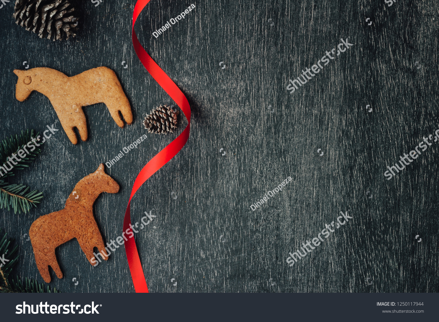 Top View Banner Scandinavian Christmas Dala Stock Photo Edit Now 1250117944