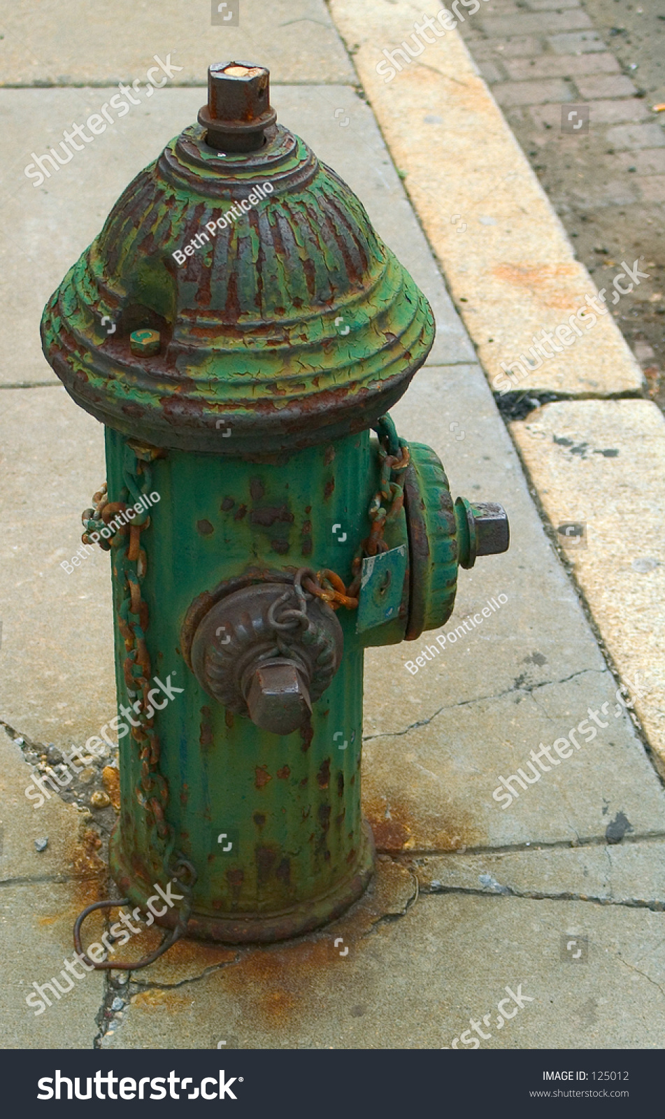 Green Paint Fire Hydrant