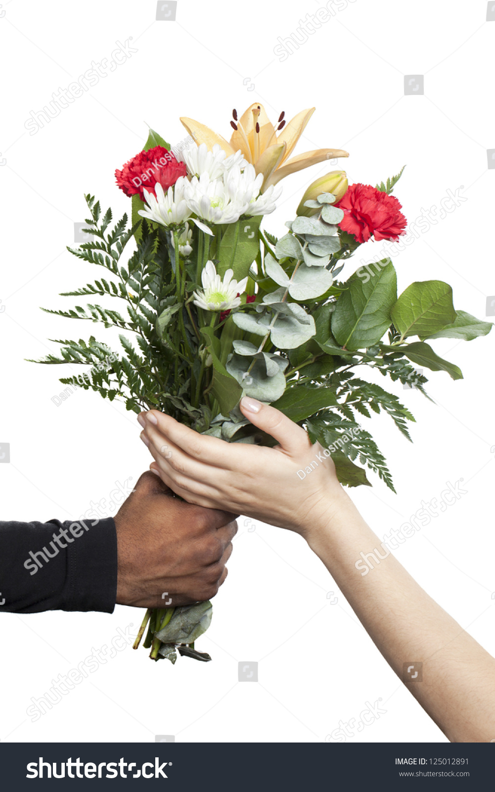 Man Holding Bouquet Flower While Woman Stock Photo (Royalty Free ...