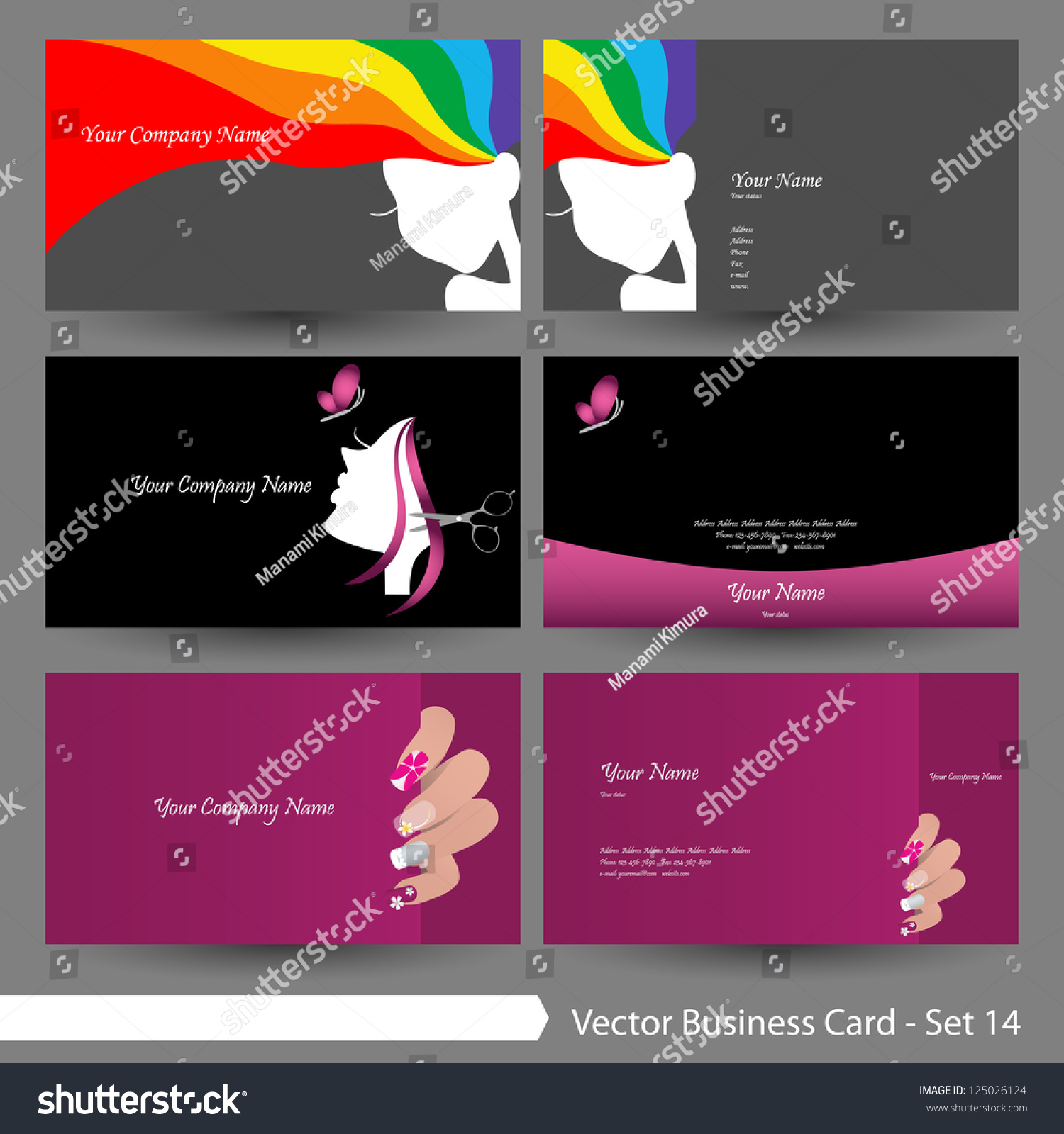 Vector Business Card Template Set Beauty Stock Vector 125026124 ...