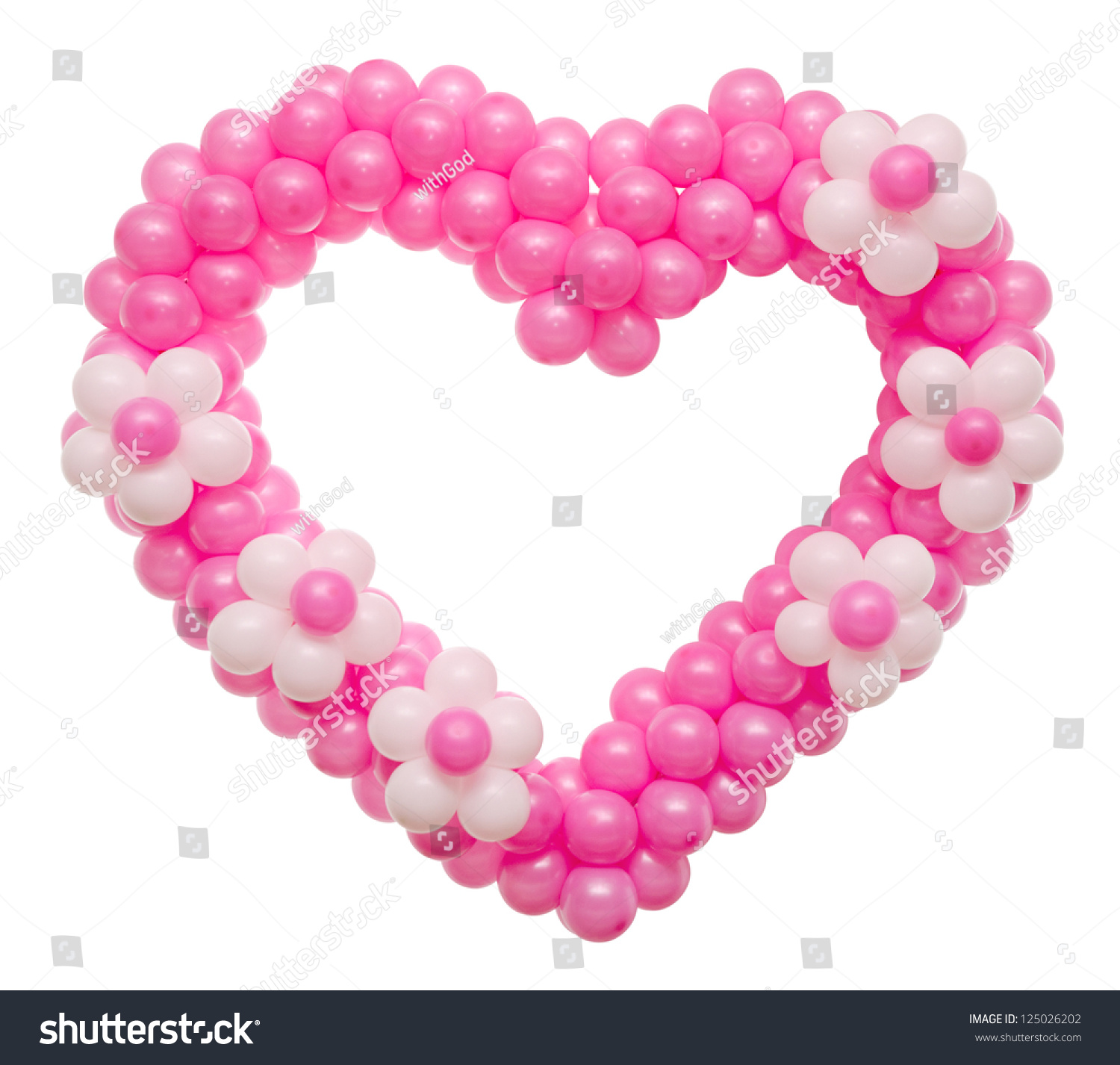 A wedding decoration many pink balloons in a heart shape for Heart shaped decorations home