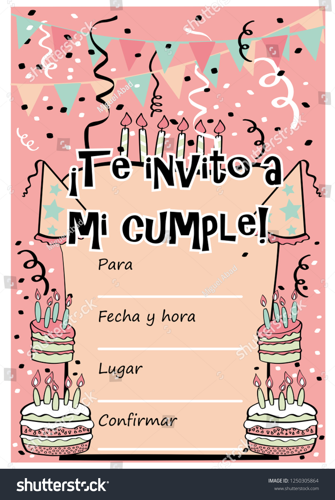 Kids Birthday Party Invitation Card With Sentence I Invite You To My Translated Spanish And Template For Fill Information