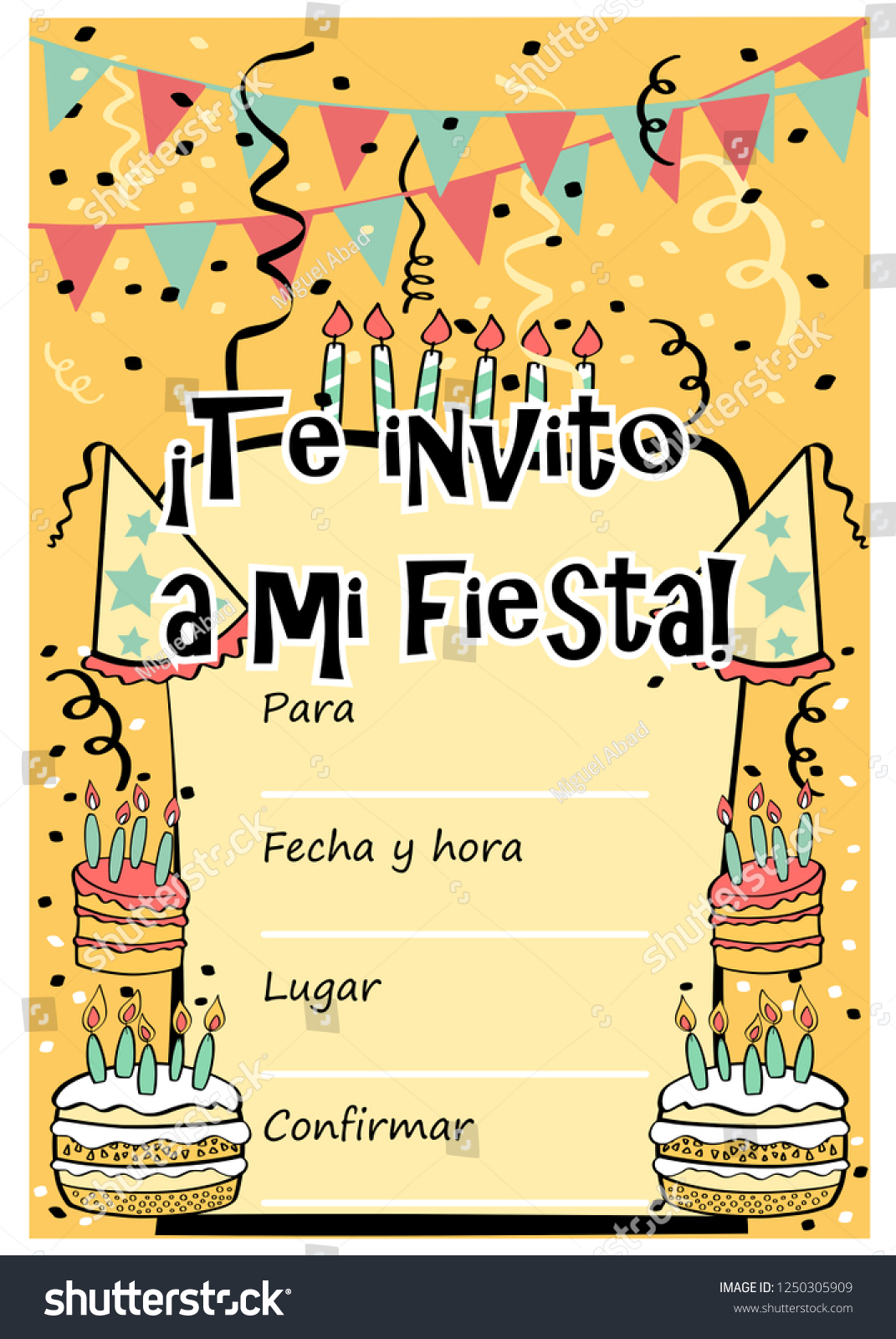 Kids Birthday Party Invitation Card With Sentence I Invite You To My Written In Spanish And