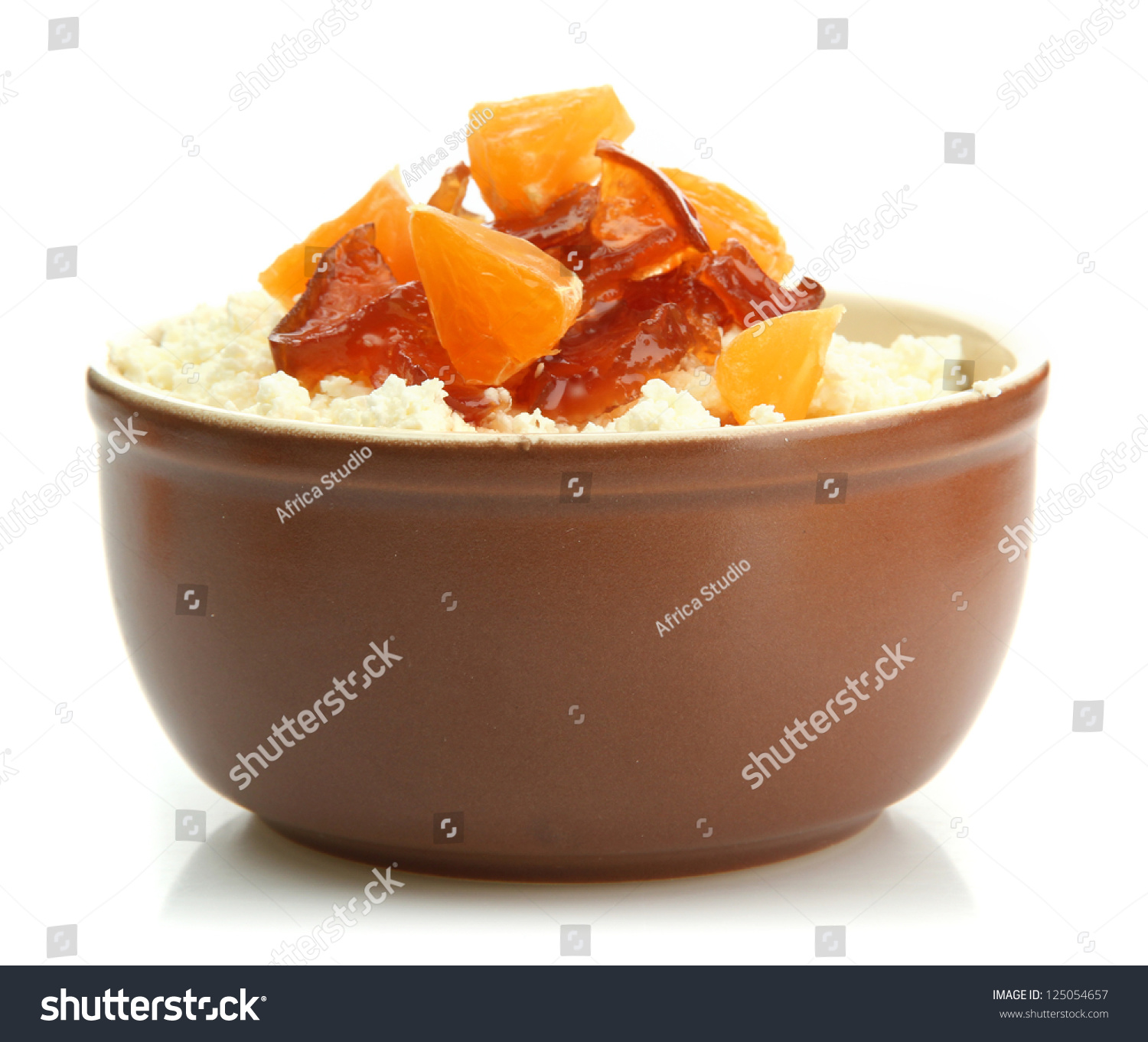 Cottage Cheese With Jam: Cottage Cheese In Bowl With Homemade Tangerine Jam