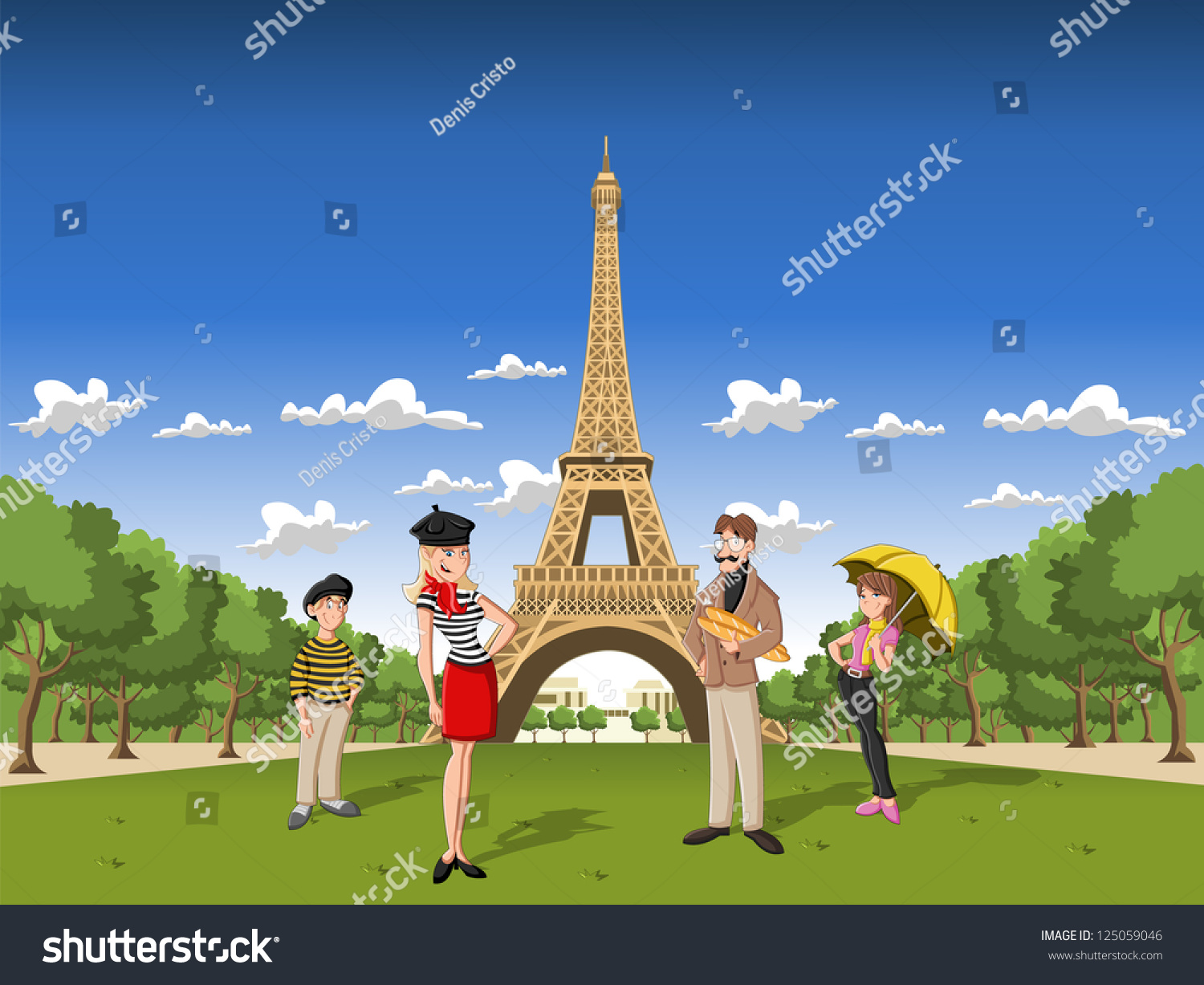 Fashion french cartoon family paris eiffel stock vector for French shows