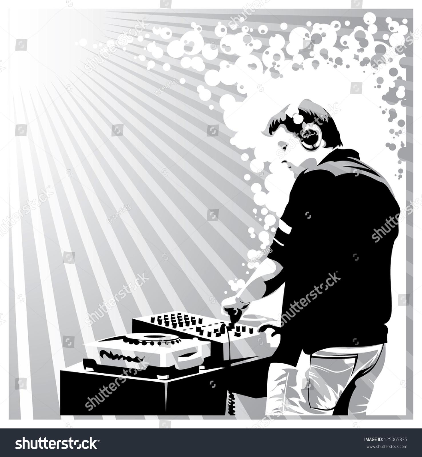 Black White Dj Silhouette Raster Version Stock ...