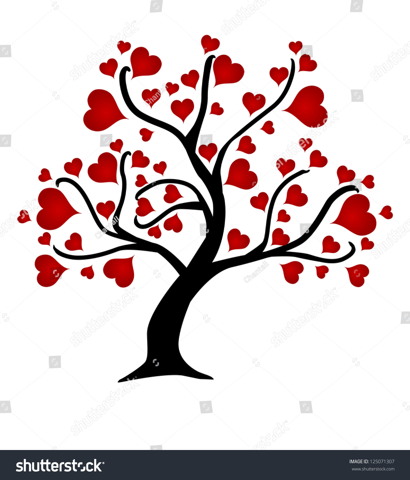 Love Tree Red Hearts Valentines Day Vectores En Stock ...