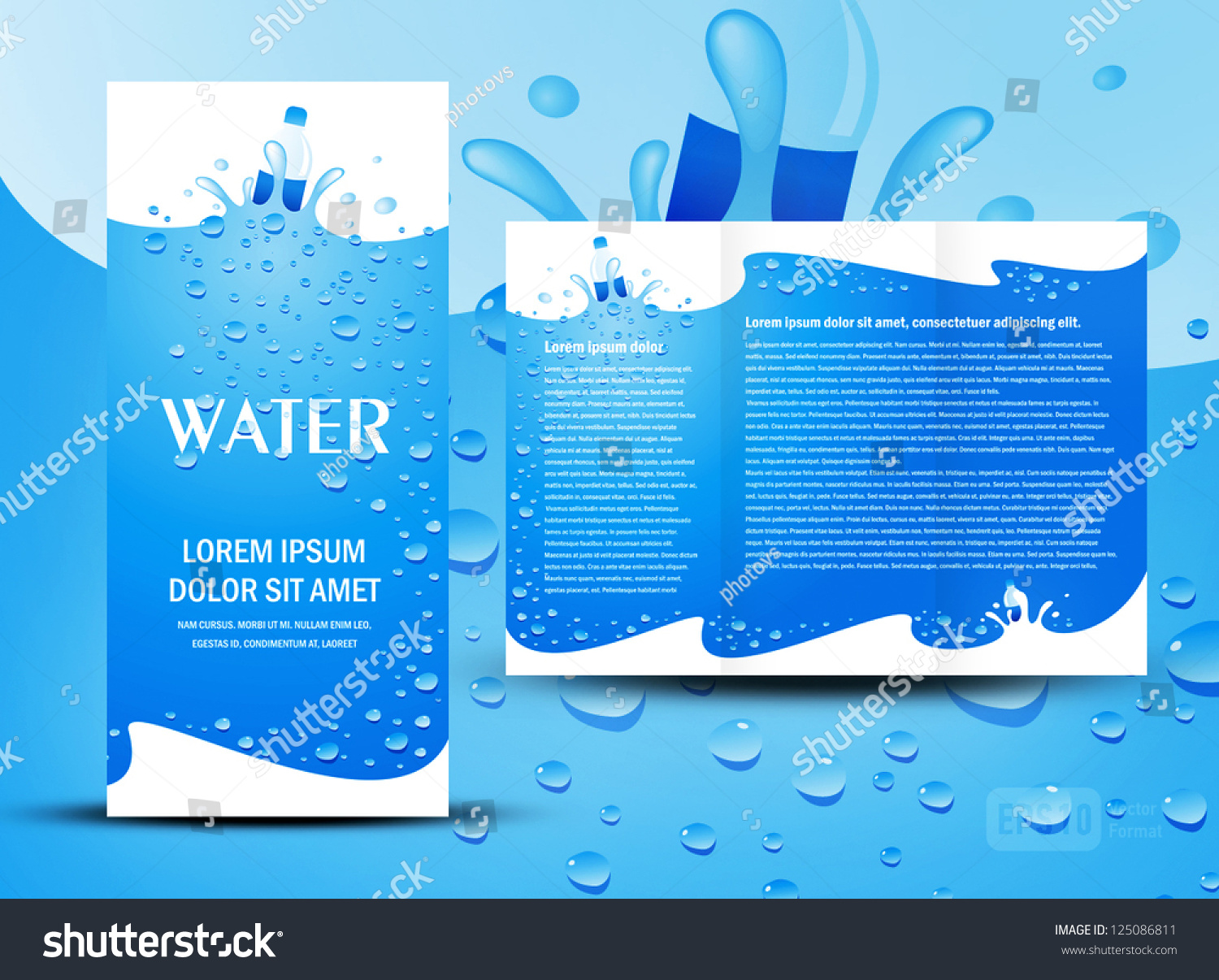 Brochure folder water aqua splash bottle stock vector for Water brochure template
