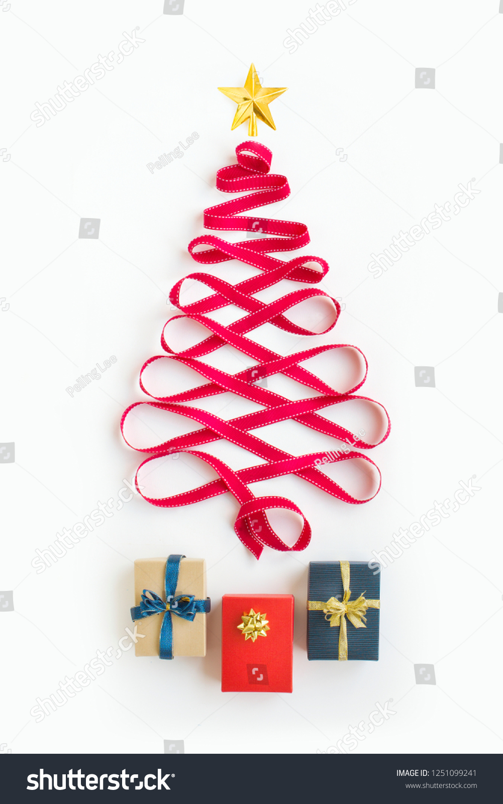 Flat Lay Conceptual Minimalist Christmas Tree Stock Photo Edit Now 1251099241