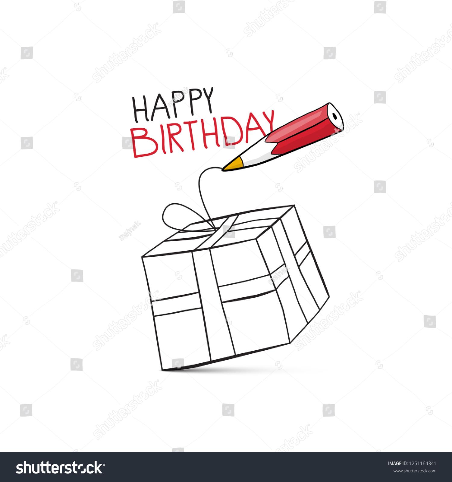 Happy birthday vector design pencil drawing stock vector royalty