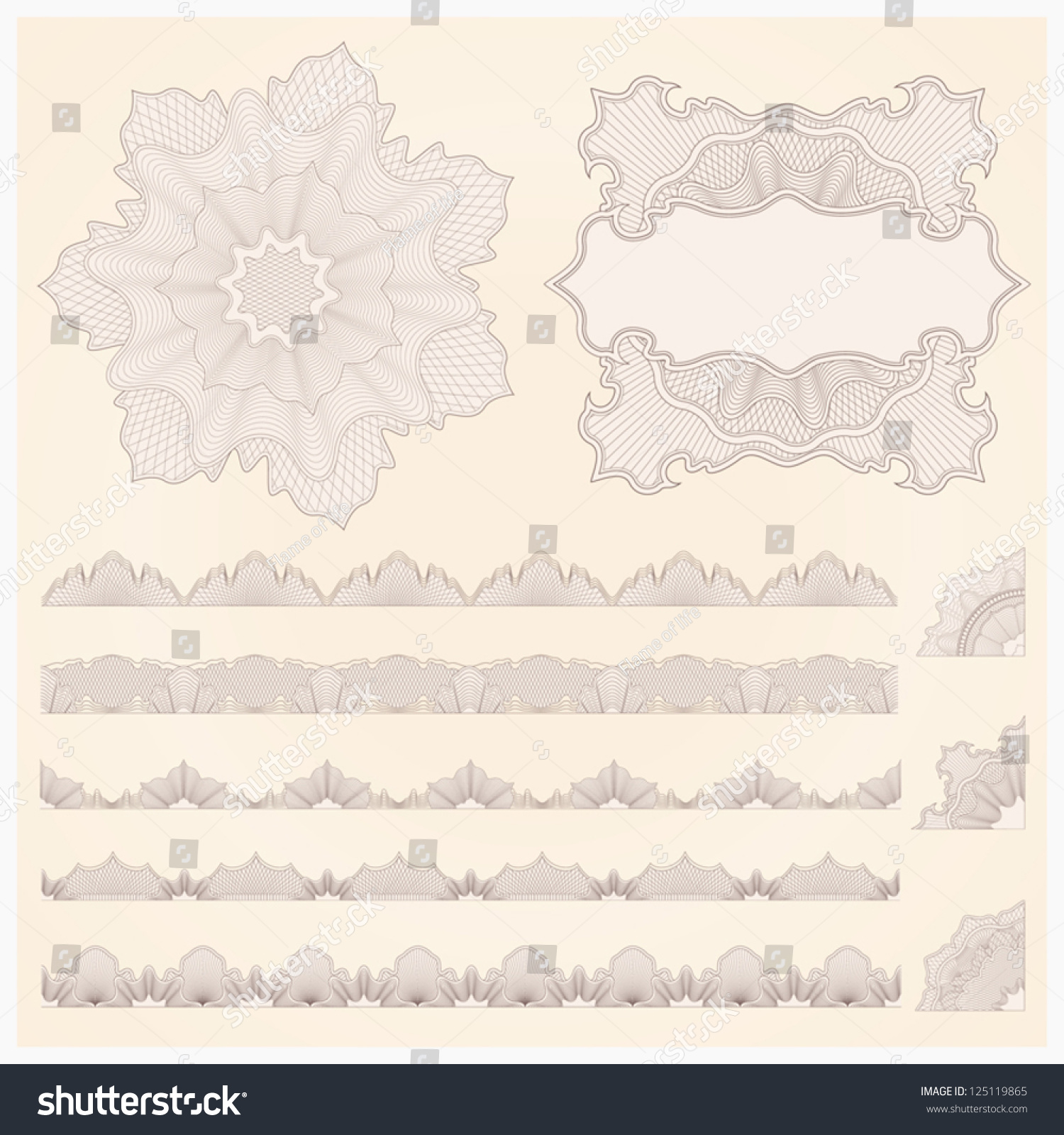 This Is Set Of Watermarks And Borders. Guilloche Pattern
