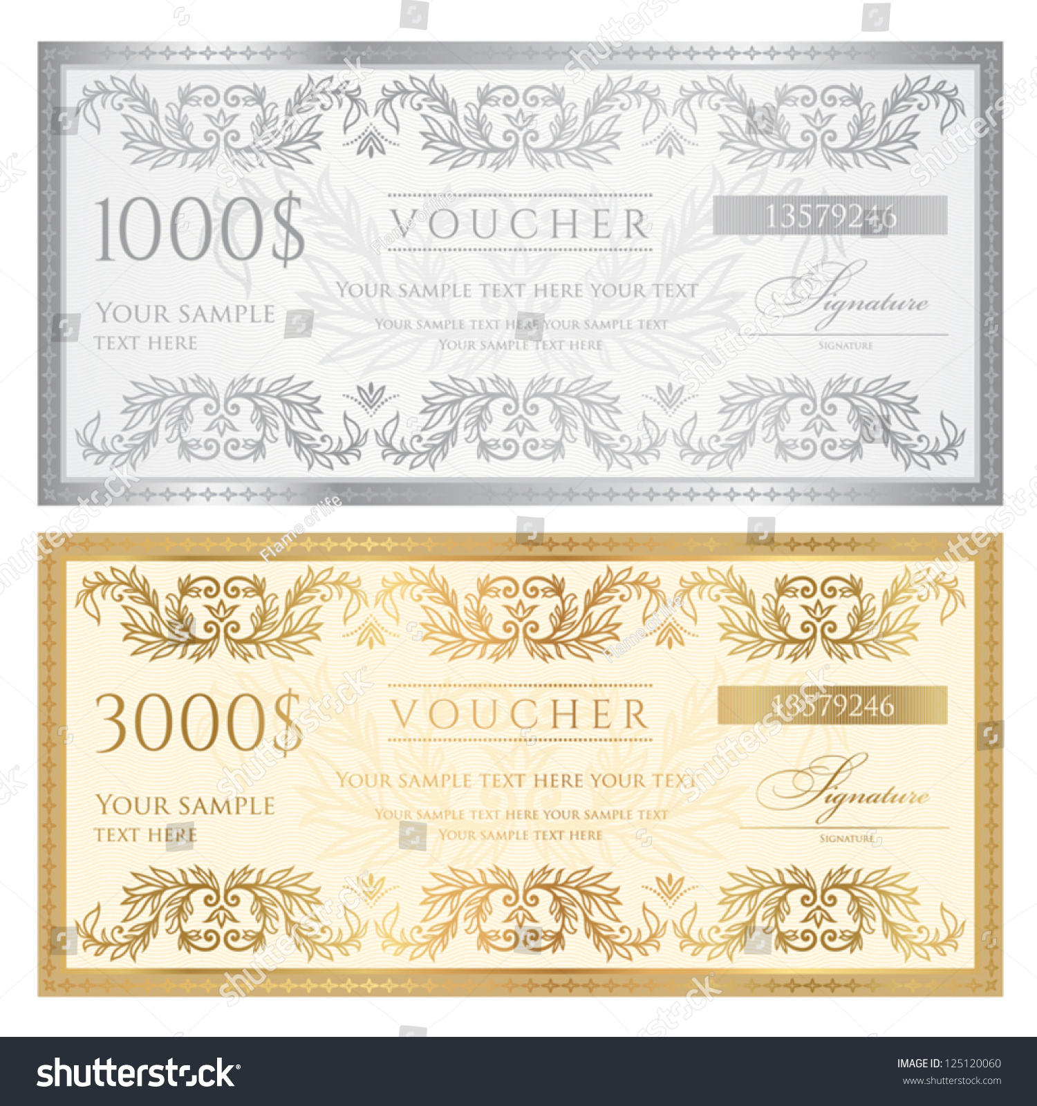 Voucher Template Floral Pattern Watermark Border Vector – Ticket Voucher Template