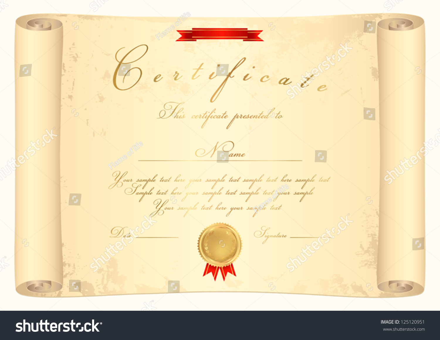 Scroll Certificate Completion Template Parchment Paper Stock Vector