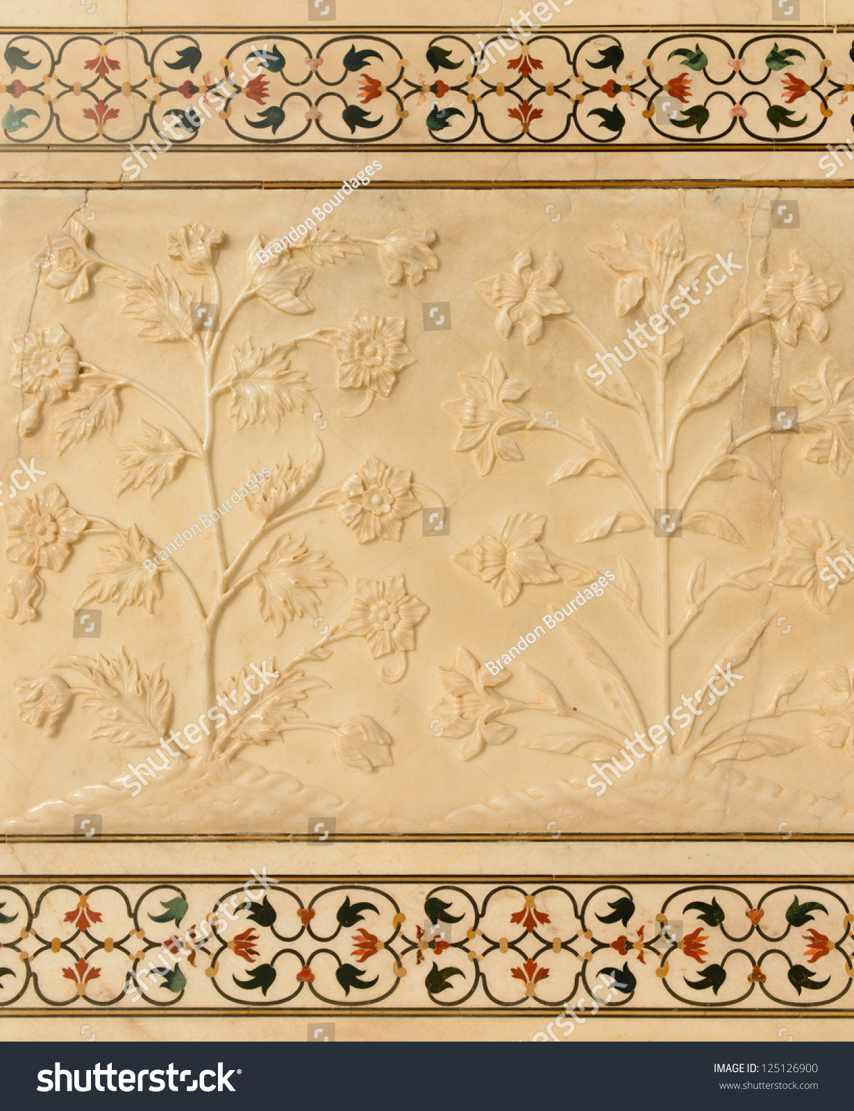 Flowers Carved Into Taj Mahal Stock Photo (Royalty Free) 125126900 ...