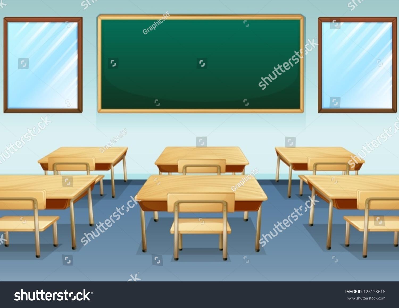 Empty cartoon classroom background - Empty Cartoon Classroom