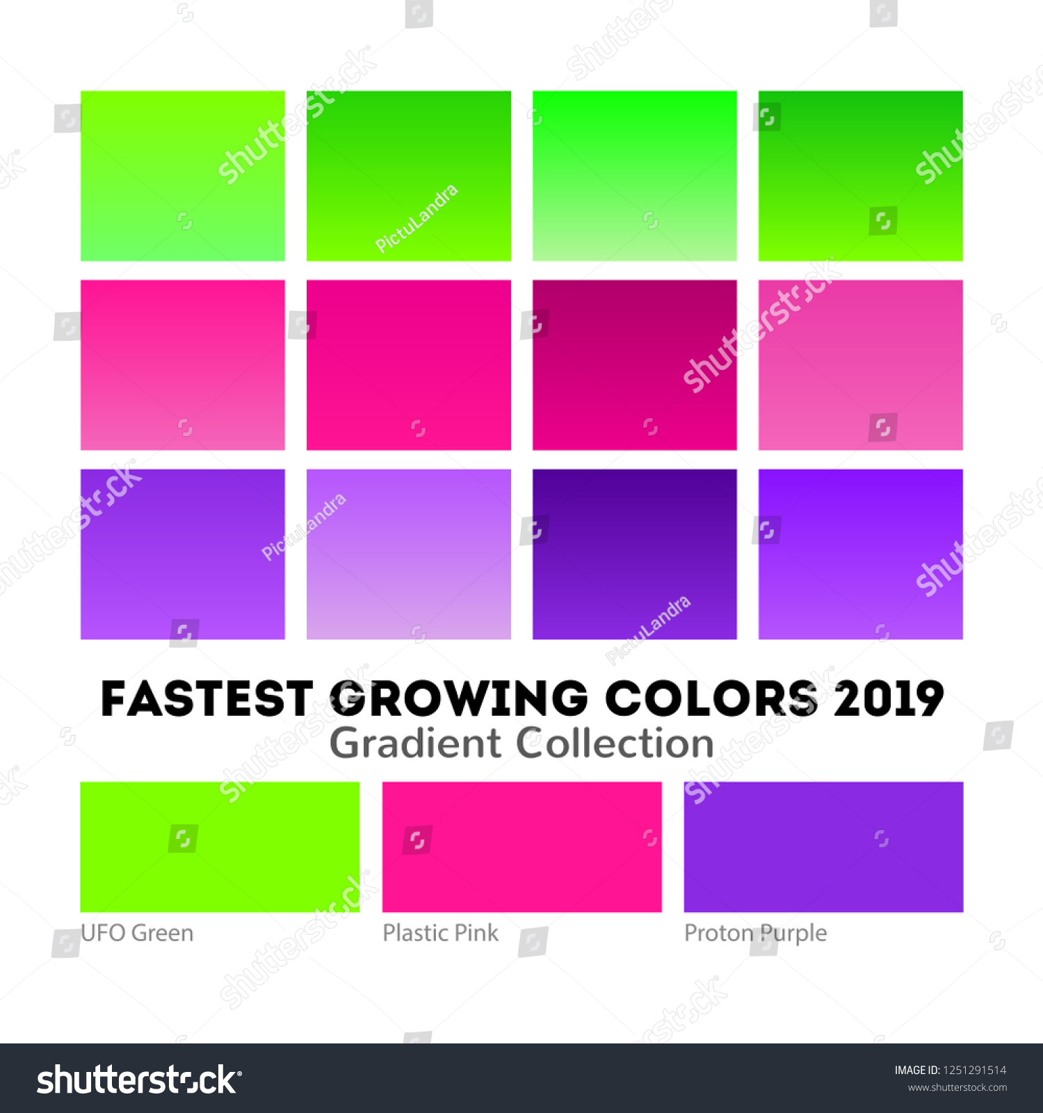 Trend Neon Trio 2019 Color Palette Stock Vector Royalty Free