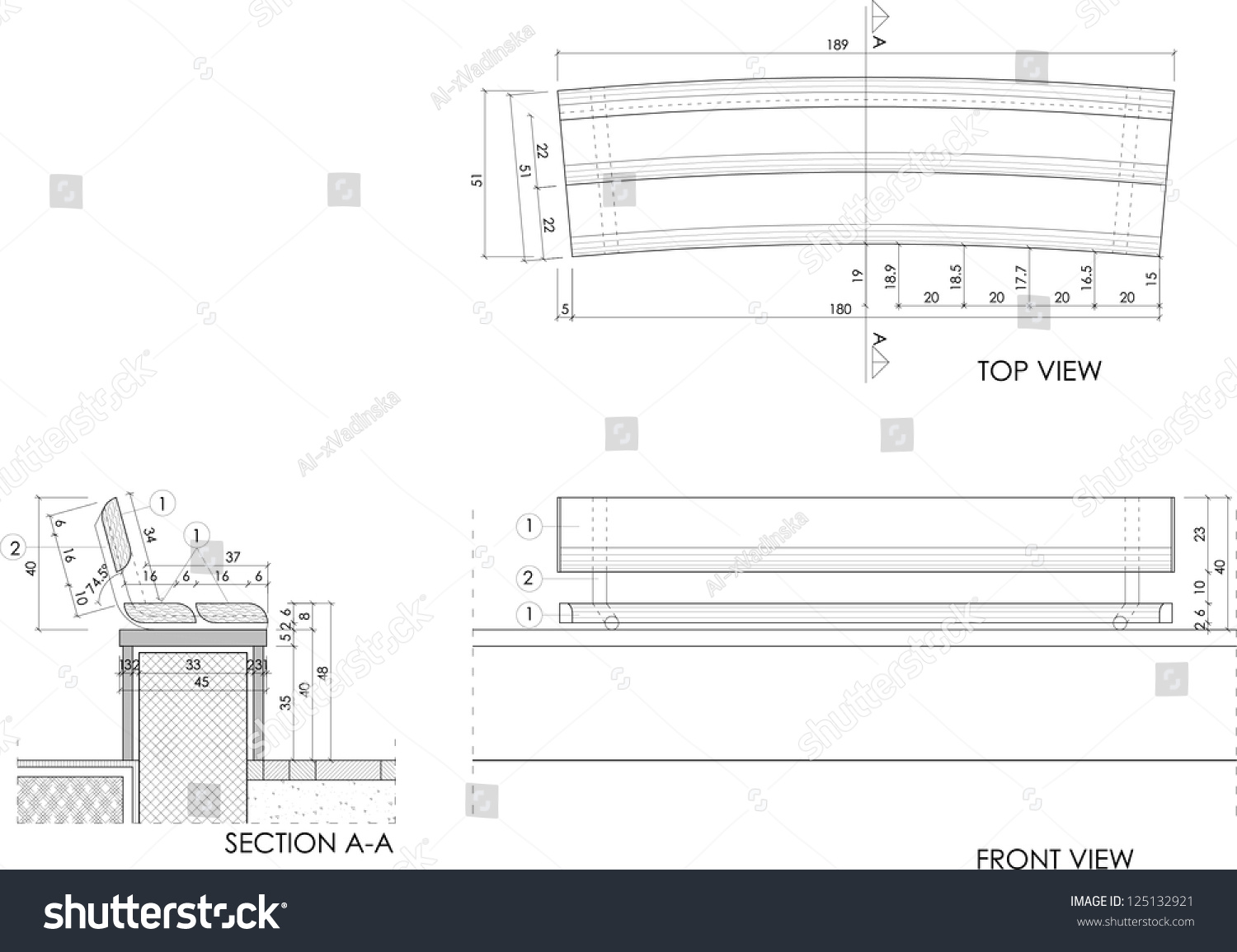Drawing plans of a park bench