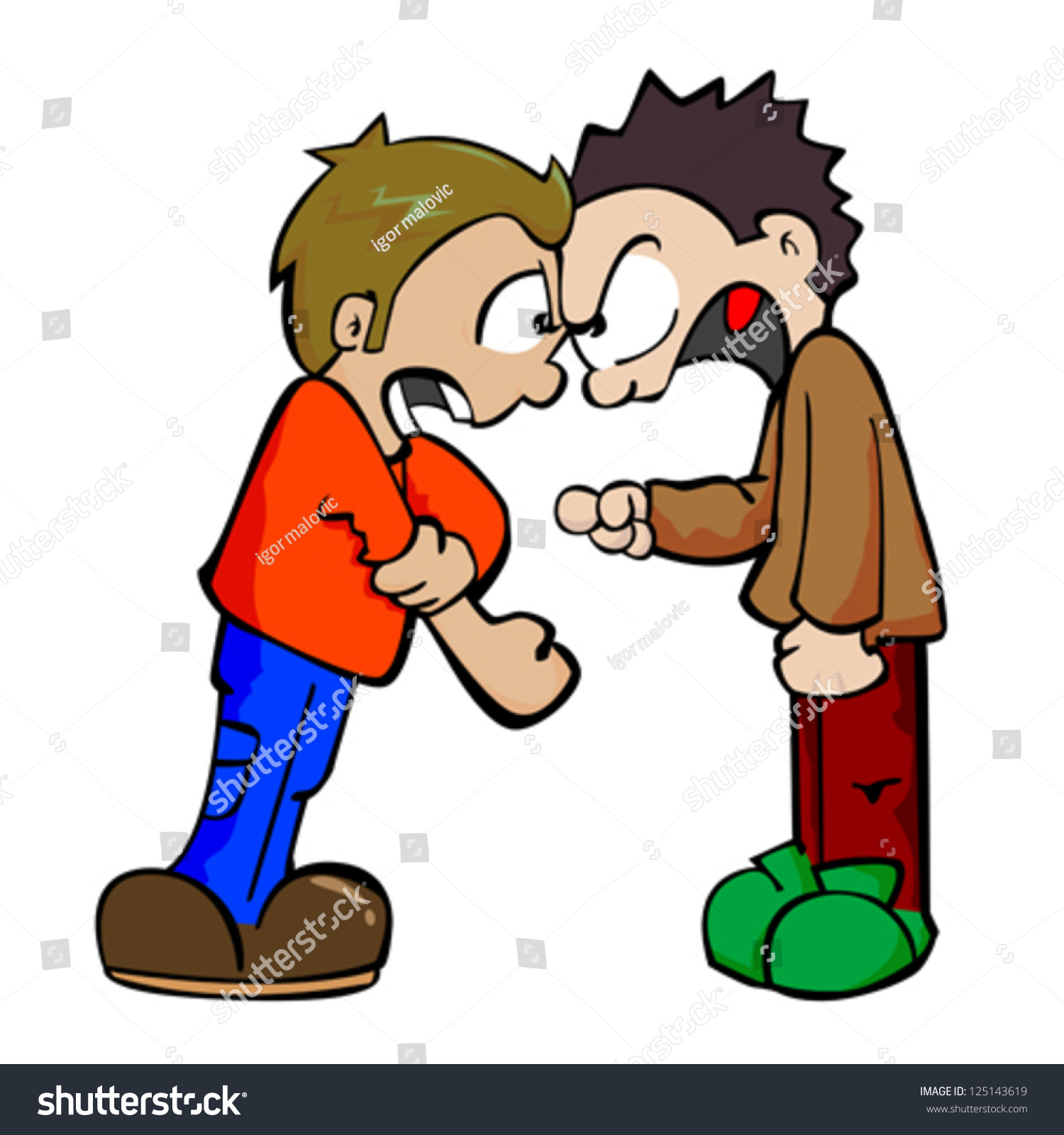 Cartoon Illustration Two Boys Fighting Stock Vector 125143619 ...