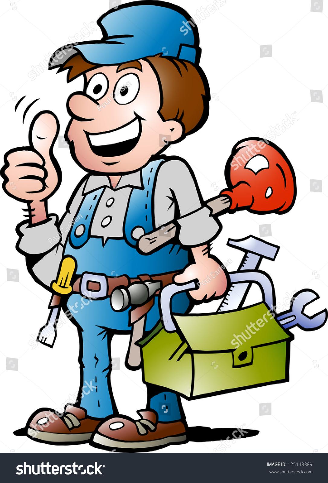 Handdrawn Vector Illustration Happy Plumber Handyman Stock Vector ...