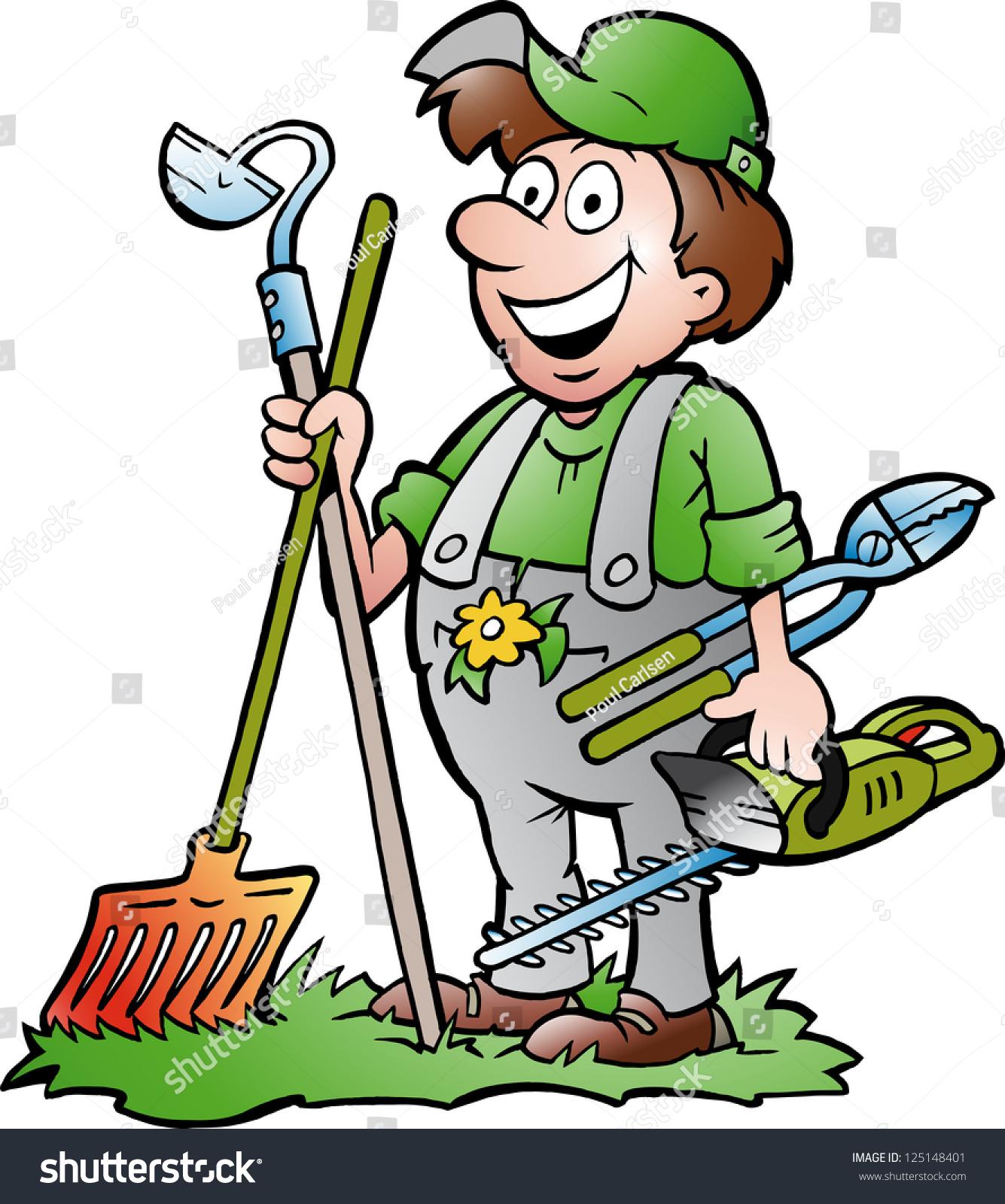 stock vector hand drawn vector illustration of an happy gardener standing with his garden tool