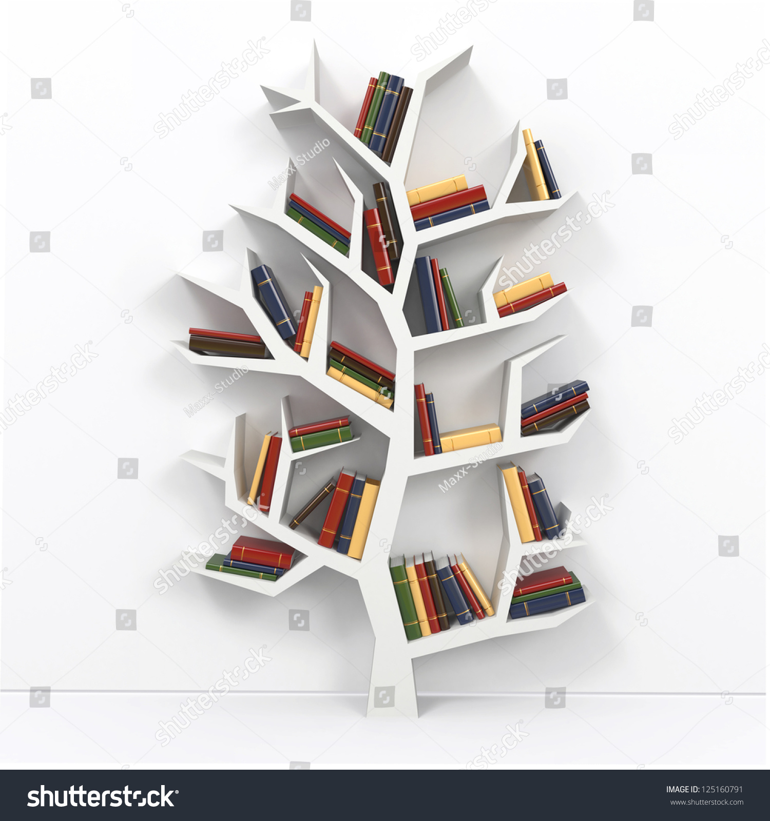 tree knowledge bookshelf on white background stock illustration  - tree of knowledge bookshelf on white background d