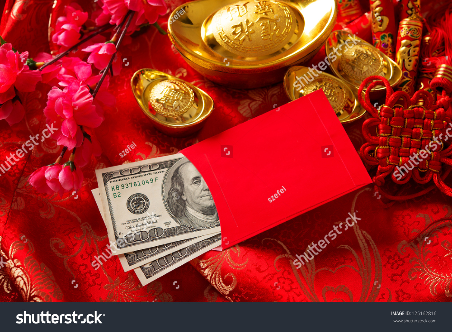 Chinese new year festival decorations red packet or ang for Ang pow packet decoration