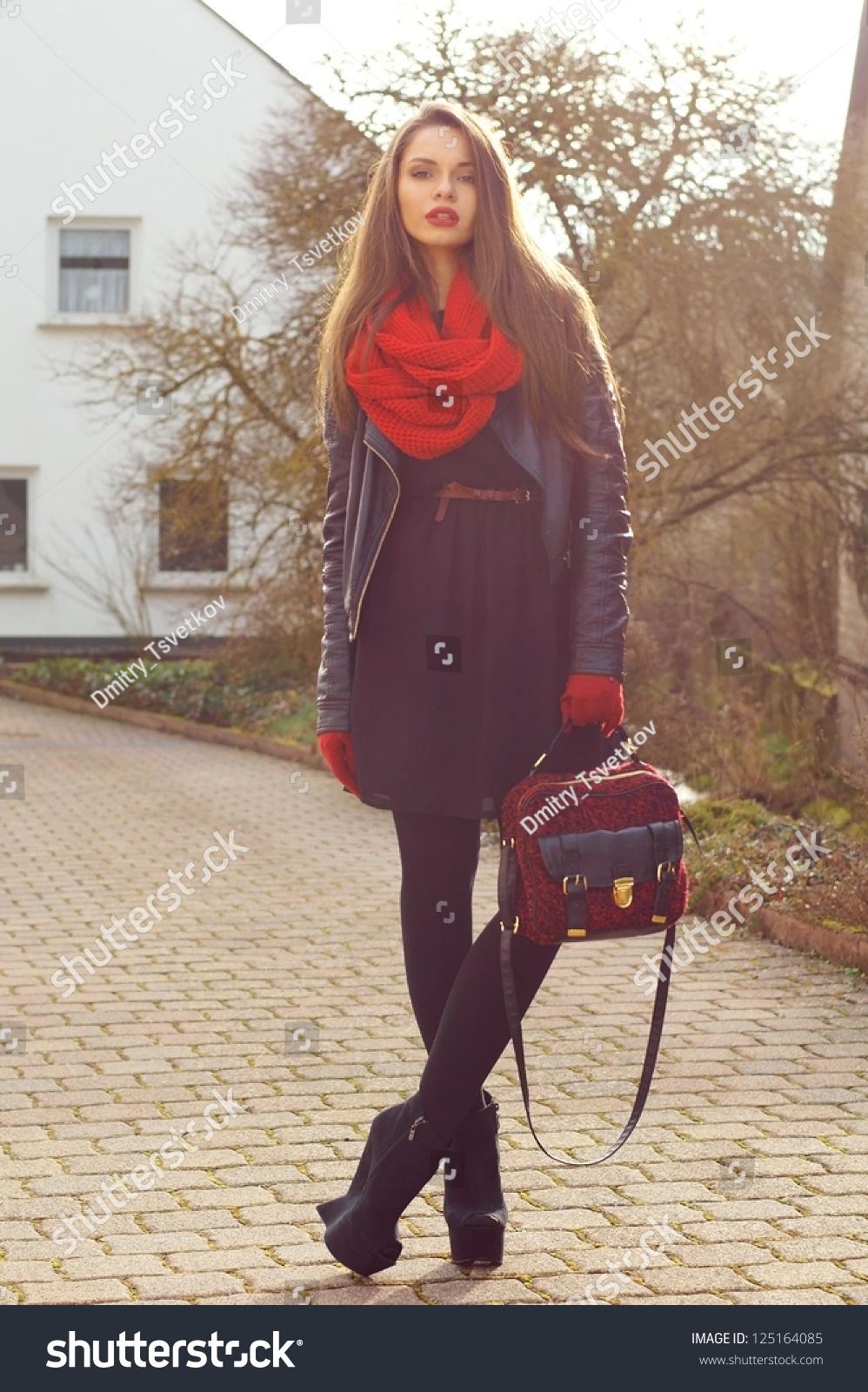 Black dress with red bag - Fashionable Stylish Girl In Black Dress And Leather Jacket With Red Bag