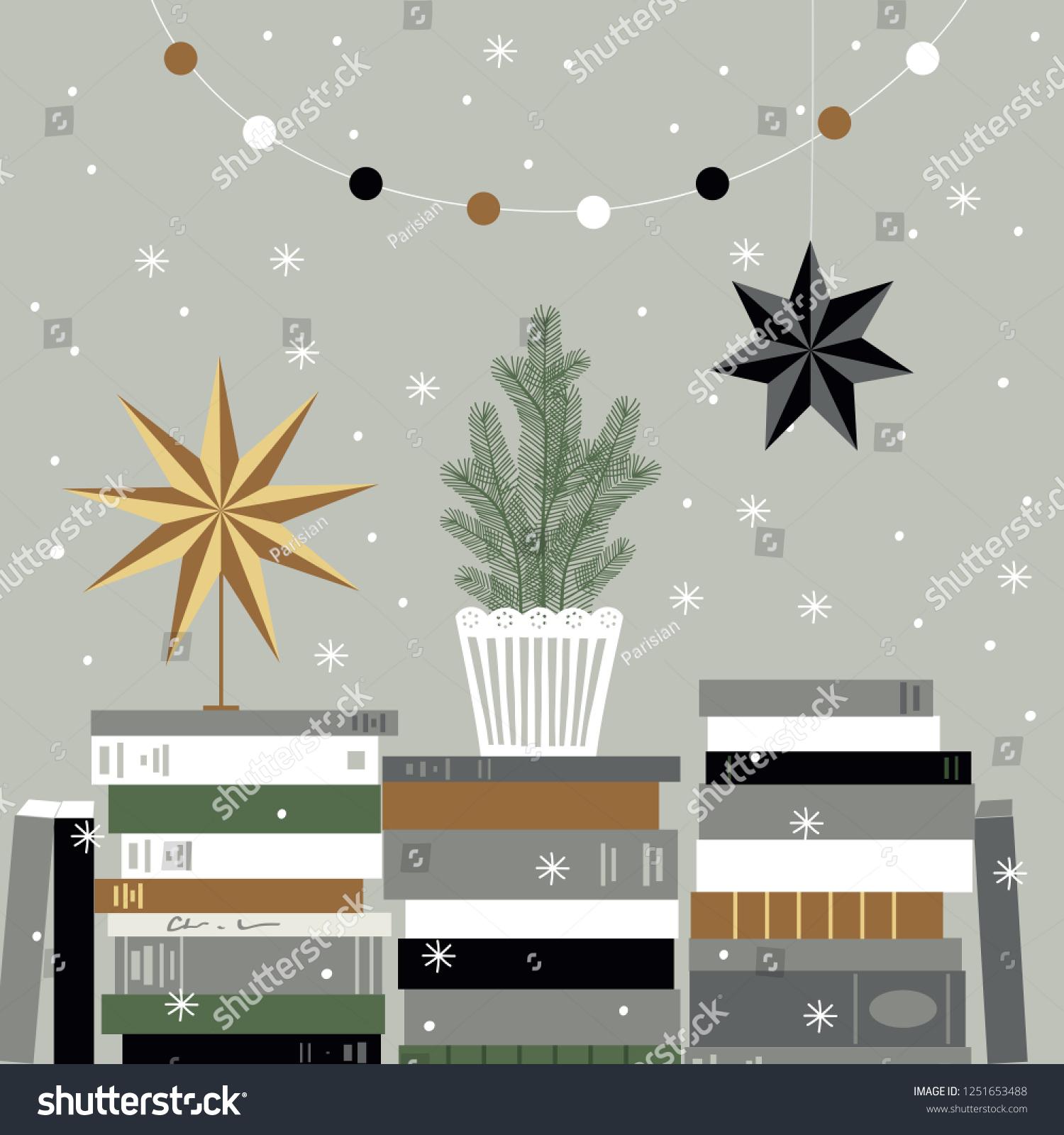 Christmas Card Christmas Tree Books Christmas Stock Vector Royalty