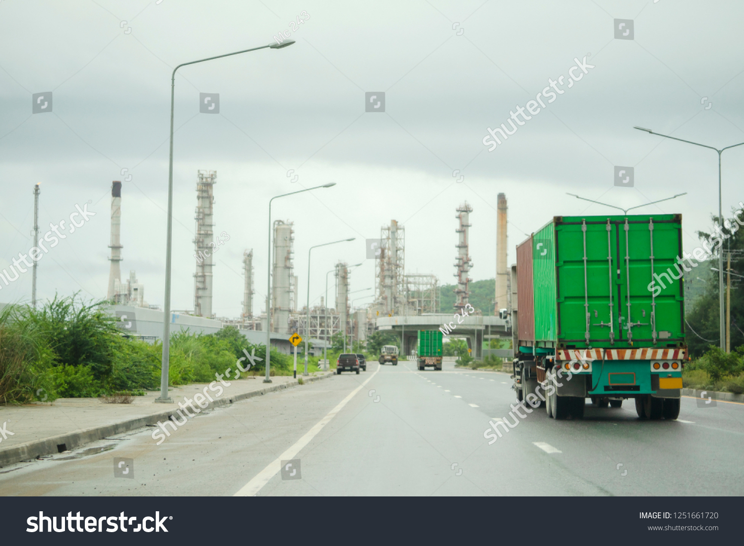 Truck on highway road container, transportation concept.,import,export logistic industrial Transporting Land transport on the asphalt expressway #1251661720
