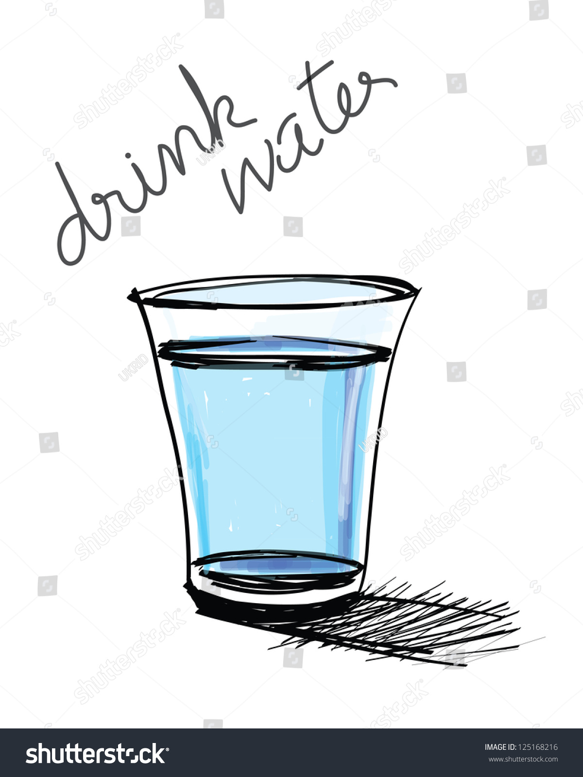 Glass Water Hand Drawn Stock Vector 125168216 - Shutterstock