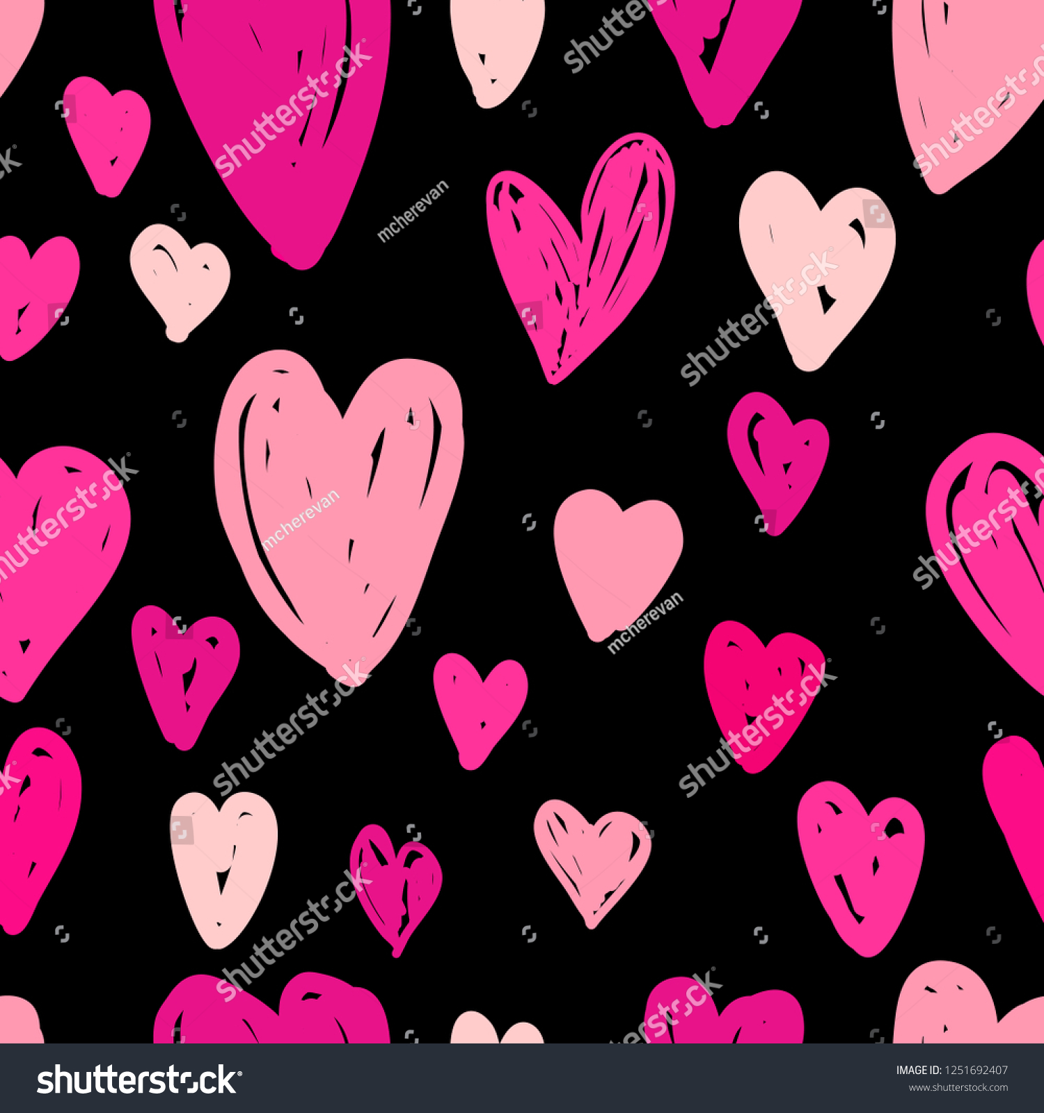 Abstract Seamless Pattern Bright Pink Hearts Stock Vector Royalty